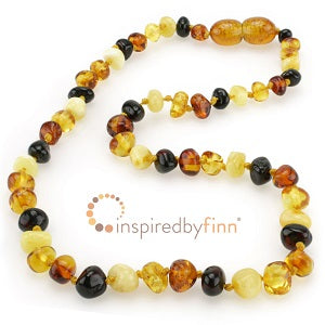 Inspired by Finn Baltic Amber (Teething) Necklace -4 Different Round Polished