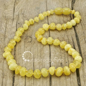 Inspired by Finn Baltic Amber (Teething) Necklace - Polished Butter Round