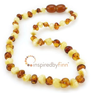 Inspired by Finn Baltic Amber (Teething) Necklace - Butter & Honey Round