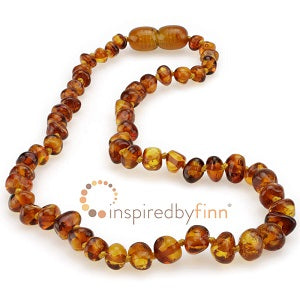 Inspired by Finn Baltic Amber (Teething) Necklace -Polished Amber Honey Round
