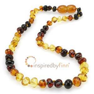 Inspired by Finn Baltic Amber (Teething) Necklace - Polished Rainbow