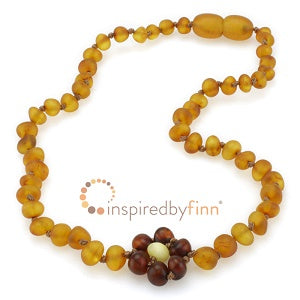 Inspired by Finn Baltic Amber (Teething) Necklace - Raw Amber Brilliant Flower