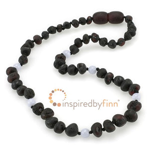 Inspired by Finn Baltic Amber (Teething) Necklace - Blue Stone Molasses