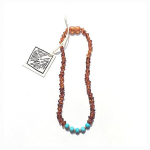 Canyon Leaf Baltic Amber Necklace - Raw Cognac + Round Turquoise Howlite 11 inches