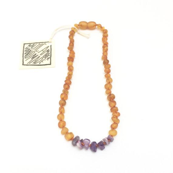 Canyon Leaf Baltic Amber Necklace - Raw Honey + Raw Amethyst