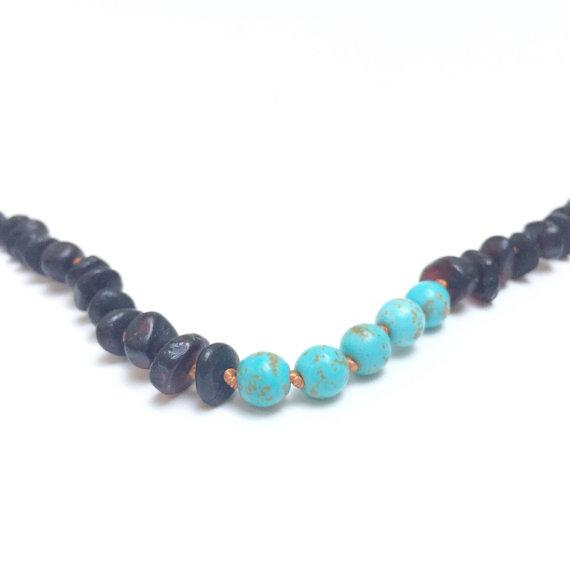 Canyon Leaf Baltic Amber Necklace - Raw Black + Round Turquoise Howlite 11 inches