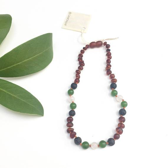 Canyon Leaf Baltic Amber Necklace - Raw Cognac Amber + Jade & Lava Stone (for essential oils) 11 inches