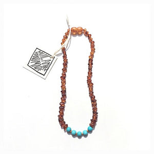 Canyon Leaf Baltic Amber Necklace - Raw Cognac + Round Turquoise Howlite Adult 18 inches