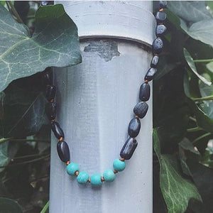 Canyon Leaf Baltic Amber Necklace - Raw Black + Round Turquoise Howlite Adult 21 inches