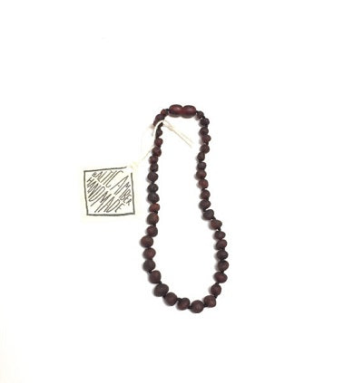 Canyon Leaf Baltic Amber Necklace - Raw Black
