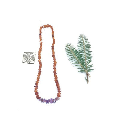 Canyon Leaf Baltic Amber Necklace - Raw Cognac + Raw Amethyst Adult 18 inches