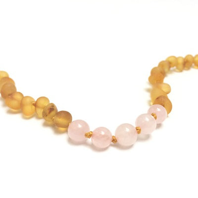Canyon Leaf Baltic Amber Necklace - Raw Honey + Rose Quartz Adult 21 inches