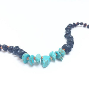 Canyon Leaf Baltic Amber Necklace - Raw Black + Raw Turquoise Howlite Adult 18 inches