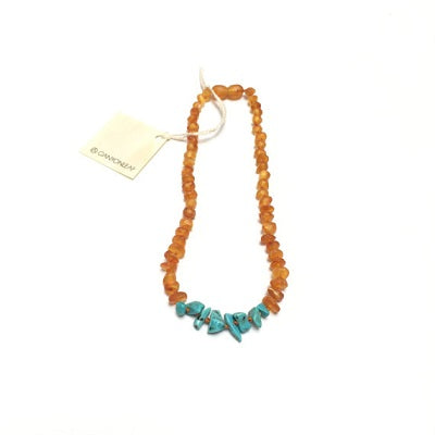 Canyon Leaf Baltic Amber Necklace - Raw Honey + Raw Turquoise Howlite 11 inches