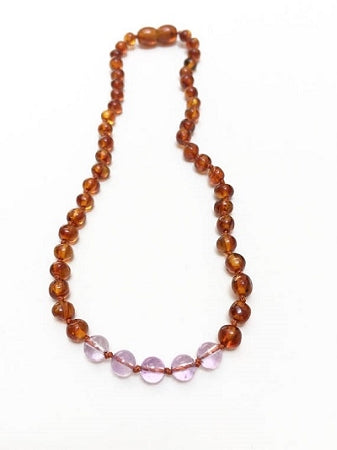 Canyon Leaf Baltic Amber Necklace - Raw Cognac + Amethyst 11 inches