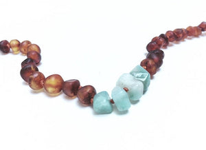 Canyon Leaf Baltic Amber Necklace - Raw Cognac + Raw Amazonite 11 inches
