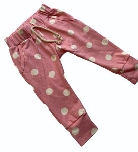 Blumenkind Joggers in Pink with Polka Dots