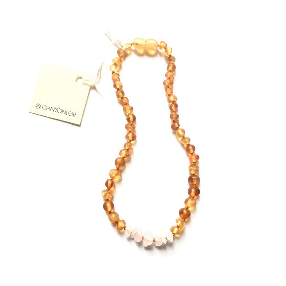 Canyon Leaf Baltic Amber Necklace - Raw Honey + Raw Rose Quartz 11 inches