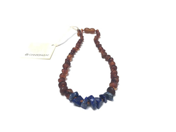 Canyon Leaf Baltic Amber Necklace - Raw Cognac + Raw Lapis Stones 11 inches