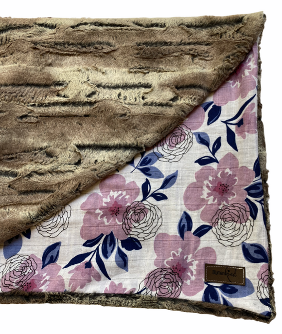 Blumenkind Luxurious Plush Minky & Muslin Blanket in Florals
