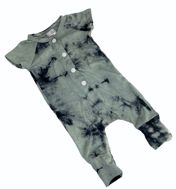 Blumenkind Button front Bamboo Romper in Tie Dye