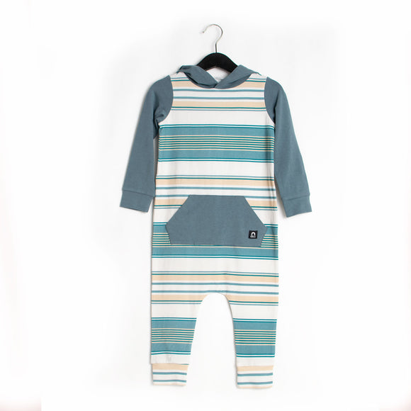 Rags Long Sleeve Hooded Kangaroo Pocket Rag Romper in Soybean & Marshmallow Stripe