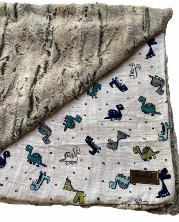 Blumenkind Luxurious Plush Minky & Muslin Blanket in Dinos