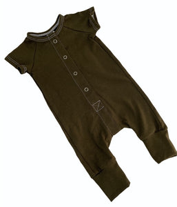 Blumenkind Button front Romper in Olive Green