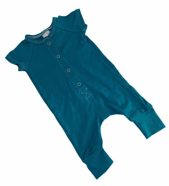 Blumenkind Button front Romper in Dark Teal