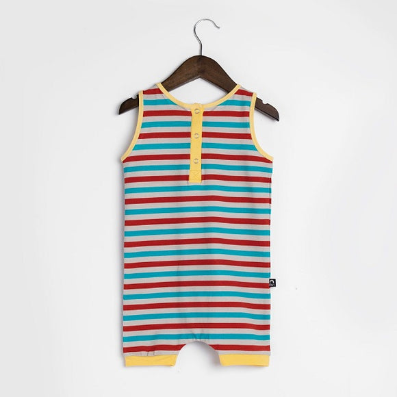 Rags Tank Henley Short Rag in Turtledove Stripe
