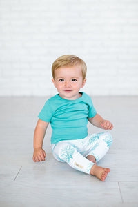 L'ovedbaby Organic Leggings - Teal Sea Fan