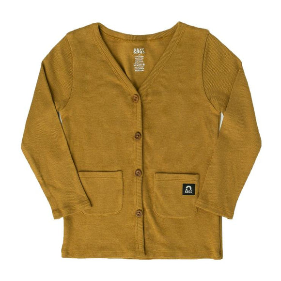 Rags to Raches Kids Pocket Cardigan in Mustard