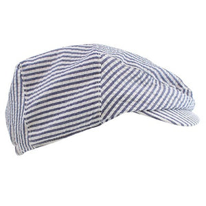 juDanzy Navy and White Stripe Seersucker Cabbie Hat