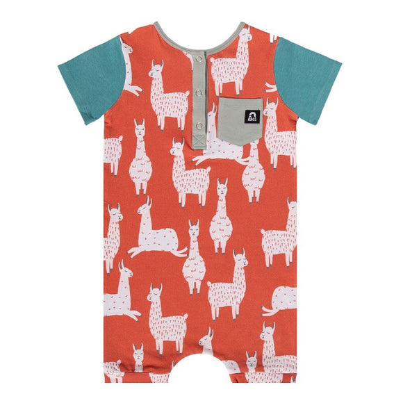 Rags Short Sleeve Henley Short Rag in Ginger Spice Llamas