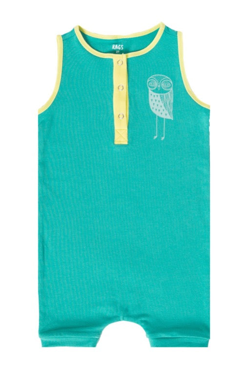 Rags ***BOUTIQUE EXCLUSIVE*** Tank Henley Short Rag Romper 'Owls' in Pool Green