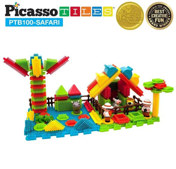 Picasso Tiles 100 Piece Safari Theme Building Set