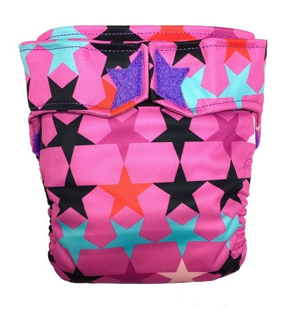 RagaBabe All-in-One Cloth Diaper - Large Pink Crush with Violet Star