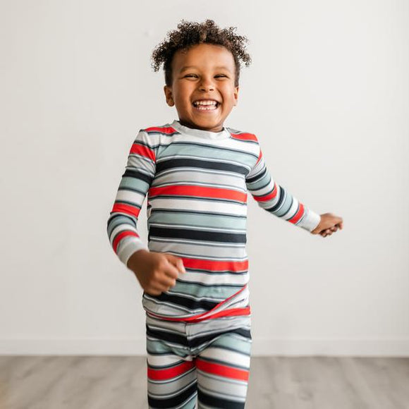 Little Sleepies Winter Stripe Two-Piece Bamboo Viscose Pajama Set