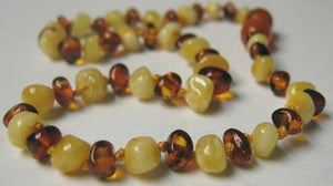 Inspired by Finn Baltic Amber (Teething) Necklace -Polished Light Mix