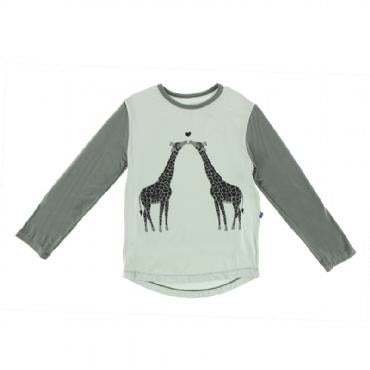 Kickee Pants - Piece Print Long Sleeve Playground Tee in Aloe Kissing Giraffes (Fall 1 2018)