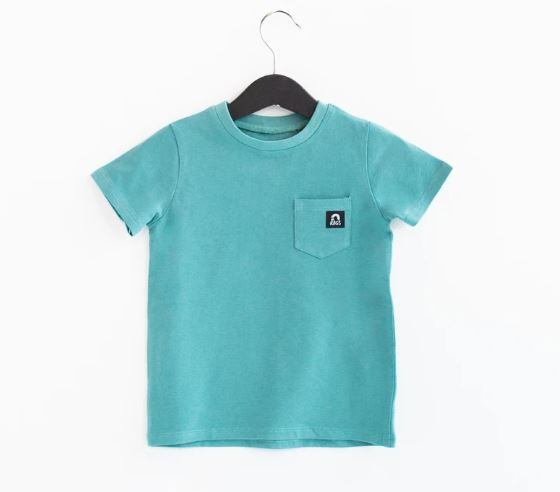 Rags Short Sleeve Chest Pocket Kids Essentials Tee in 'Bristol Blue'