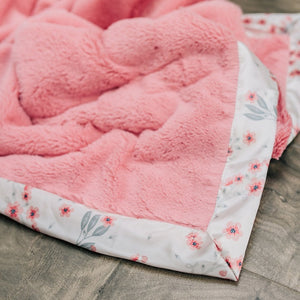 Saranoni Sherbet Lush Sakura Bloom Satin Border Receiving Blanket