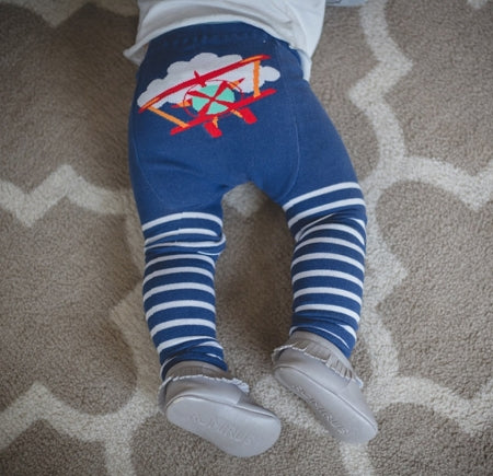 Doodle Pants - Red Plane Stripe Leggings