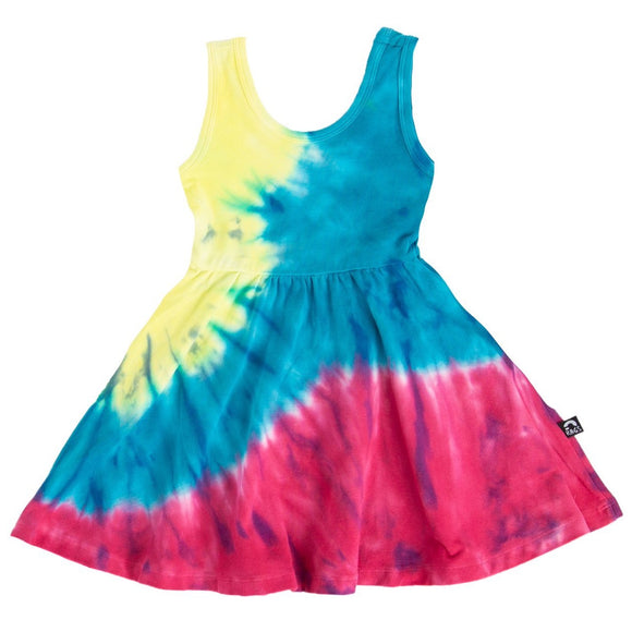 Rags ***BOUTIQUE EXCLUSIVE*** Tank Swing Dress 'Spiral Tie Dye' in Yellow, Blue, Pink