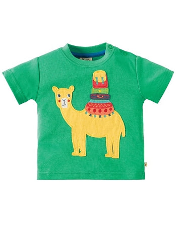 Frugi - Little Creature Applique Top Jungle Green/Camel (SS18)