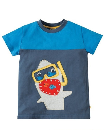 Frugi - Crantock Colour Block Top Soft Navy/Shark (SS18)