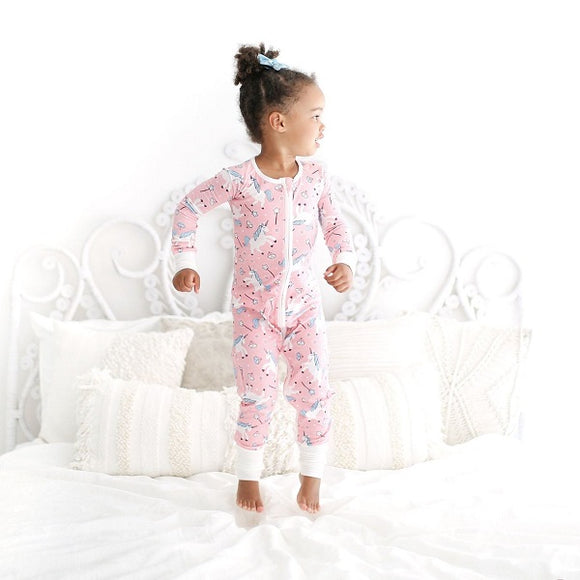 Little Sleepies Unicorn Convertible Bamboo Zip Romper/Sleeper