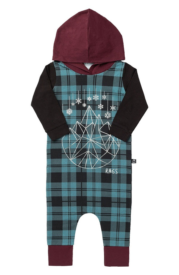 Rags to Raches Long Sleeve Hooded Rag in Blue Plaid with Snowflake Geostar