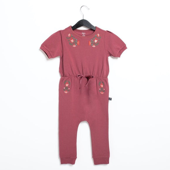 Rags Puff Sleeve Gather Waist Rag Romper Flower Embroidery in Roan Rouge