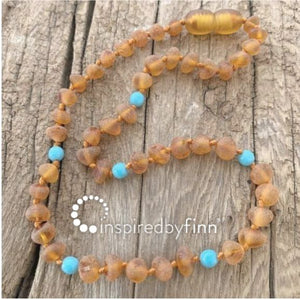 Inspired by Finn Baltic Amber (Teething) Necklace - Azure Blue Stone Cider